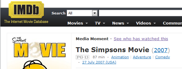 IMDb browser extension example - Unseen movie