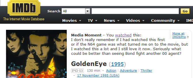 IMDb browser extension example